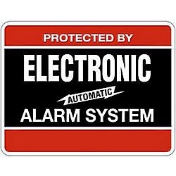 MAXWELL ALARM DY103 ELECTRONIC ALARM DECAL 4inX3in BLACK/RED