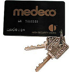 MEDECO MEDKY-GL-CARD-54 5 PIN CAM LOCK KEYS W/CARD