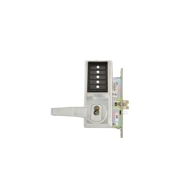 Dormakaba L8146B26D Left Hand Mechanical Pushbutton Lever Mortise Lock with Best Prep Satin Chrome Finish